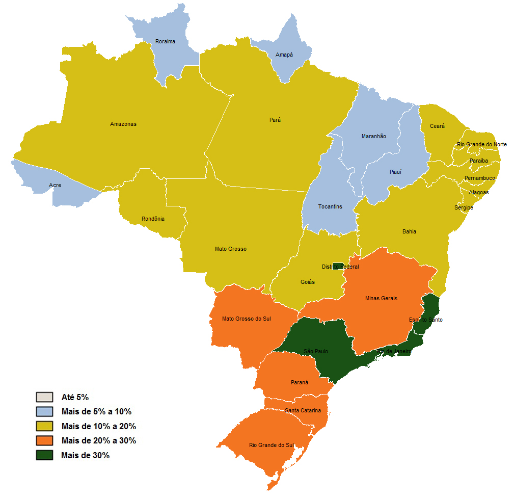 Coverage Rate for Medical Aid Plans by State (Brazil: December 2012)
